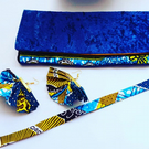 Blue Crushed Velvet With Ankara Blue and Yellow Gold Fabric  Clutch Bag