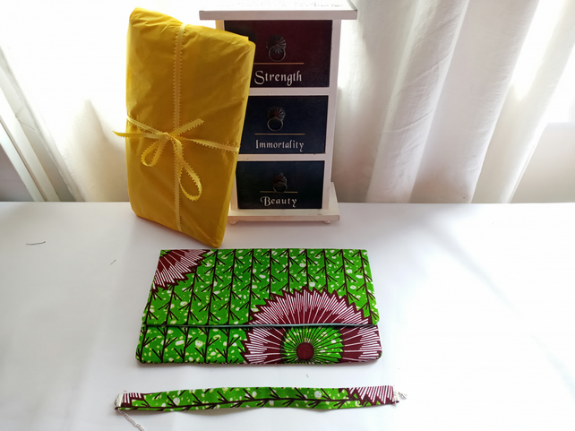 African Ankara Green and Brown Clutch Bag With Matching Choker
