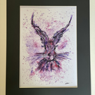 Hare Print - Signed and Mounted - Ink& Watercolour