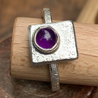'Framed' Amethyst Cabochon on Sterling Silver Ring