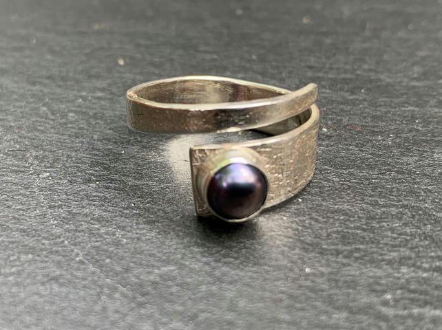 Black Freshwater Pearl and Sterling Silver 'Wrap' ring, 100% handmade