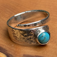 Turquoise and Sterling Silver 'Wrap' ring, 100% handmade