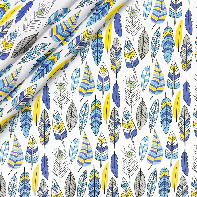Feathers blue and yellow , 160cm wide , sold per metre