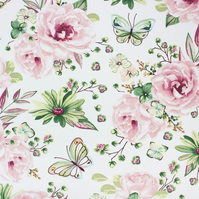 Large print roses with butterflies  , wide 160cm , sold per metre