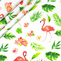 Watercolour flamingo green leaves on white  , wide 160cm , sold per metre