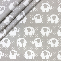 Elephant , hearts dots on grey   , wide 160cm , sold per metre