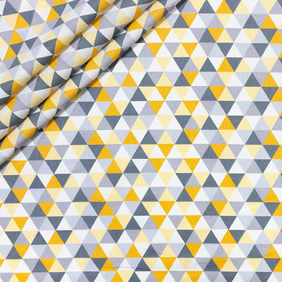 Small triangle yellow grey, 160cm wide, sold per metre