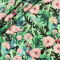 Flamingo  pink flowers on black , wide 160cm , sold per metre
