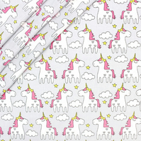 Unicorn on grey  , wide 160cm , sold per metre