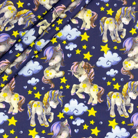 Unicorns, stars on dark blue   , wide 160cm , sold per metre