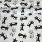 Cats black and white red bow on white  , wide 160cm , sold per metre