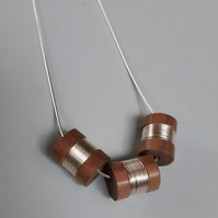wood and silver three bead necklace