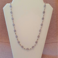 Amethyst fluted bead necklace