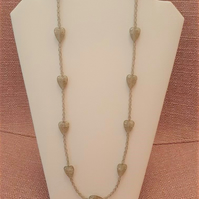 Long smokey grey necklace with heart beads