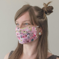 Adult Face Mask Free Filter with Goldfinch Pink Floral Handmade 100% Cotton