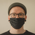 Adult Face Mask. Free Filter. Stylish Charcoal Black. Handmade 100% Cotton