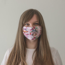 Adult Face Mask. Free Filter. Pink Floral Kitty Cat. Handmade 100% Cotton