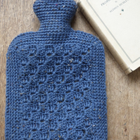 Blue Tweed Crochet Hot Water Bottle Cover with Hot Water Bottle (2 Litre)