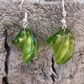 Bright green glass handmade drop earrings.