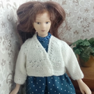1-12th scale hand knitted white cardigan