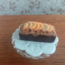 dolls house miniatures 1-12th scale chocolate and orange loaf cake
