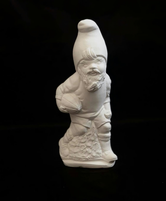 Handmade Plaster Garden Rugby Gnome, 18 cm, Painting Kit Gift for Kids & Adults