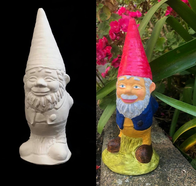 Handmade Garden Gnome, 8x21 cm, Painting Kit Gift for Kids & Adults