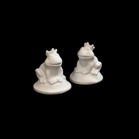 Handmade Plaster Frog Prince, 8 cm, Painting Kit Gift for Kids - Set of 2