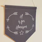 Handmade Fabric Wall Hanging,Banner,Flag,Door Sign in Grey