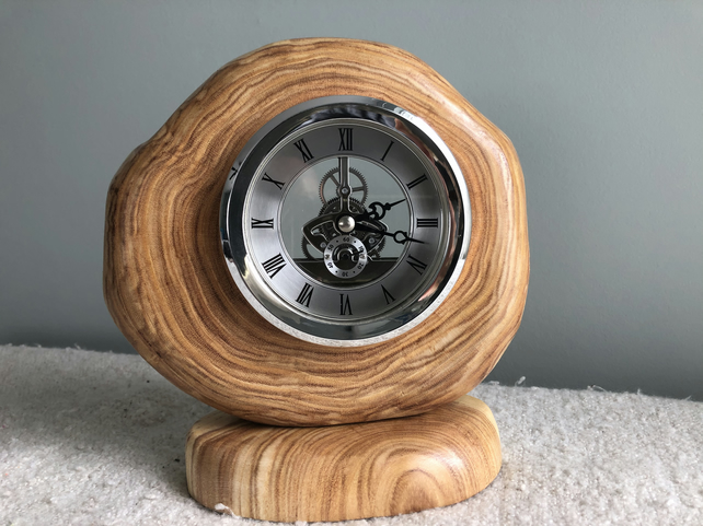 Heart wood skeleton clock