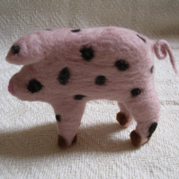 Needle-felted Gloucestershire Old Spot pig