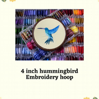 "4"" Hummingbird hand stitched embroidery hoop"