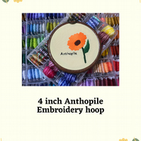 "4"" Anthopile hand stitched embroidery hoop"