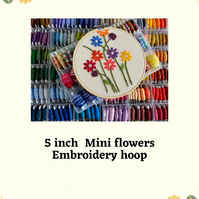 "5"" mini flowers hand stitched embroidery hoop art"