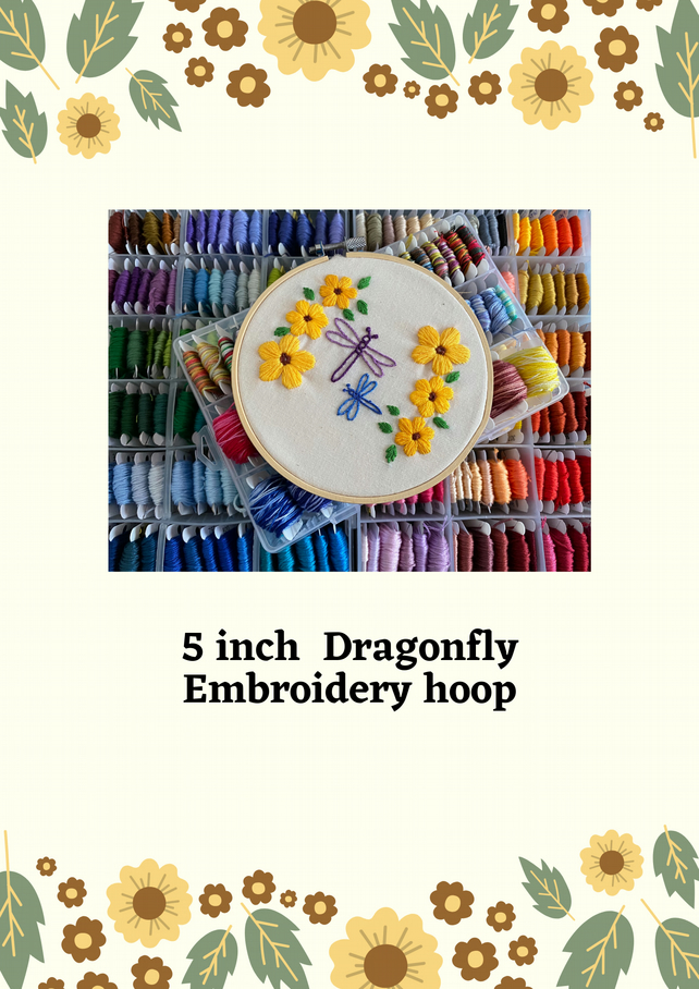 "5"" dragonfly hand stitched embroidery hoop art"