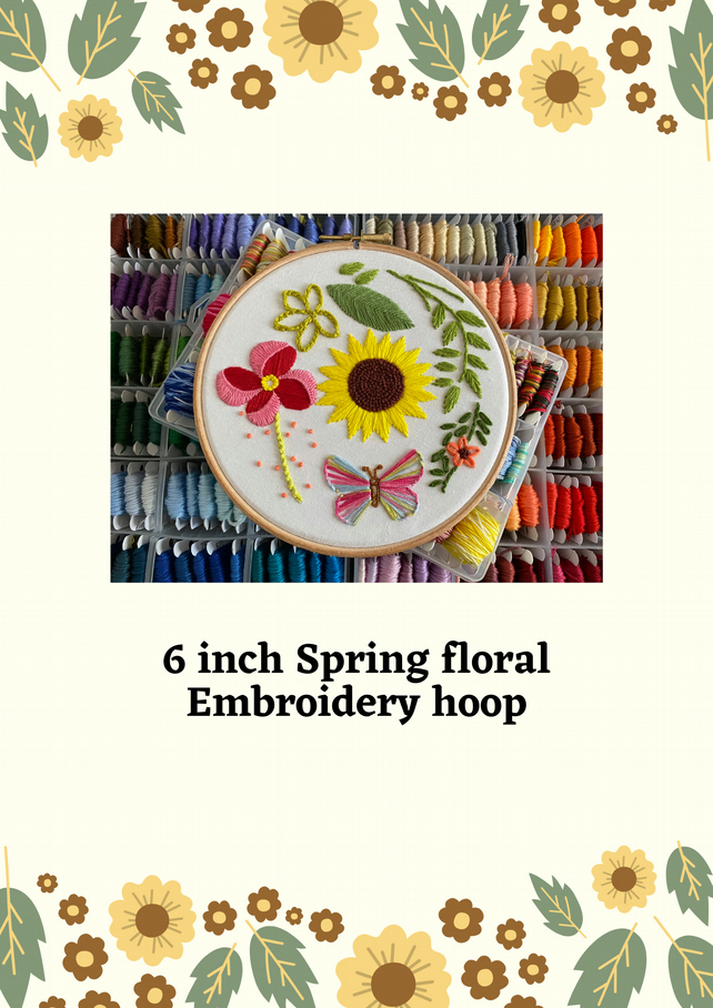 "6"" spring floral hand stitched embroidery hoop art"