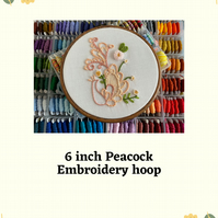 "6"" peacock hand stitched embroidery hoop art"