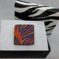 Square shaped polymer clay brooch