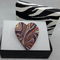 Heart shaped polymer clay brooch