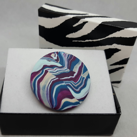 Damson and teal polymer clay brooch