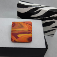 Square polymer clay brooch
