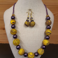 Handmade polymer clay necklace and earrings set