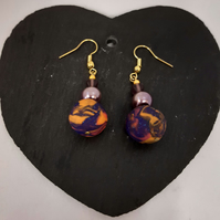 Handmade polymer clay dangly earrings