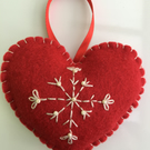 Felt Christmas Heart Hanging Decoration - Red & Ivory