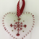Felt Christmas Heart Hanging Decoration - White & Red
