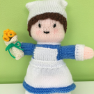 Hand Knitted Nancy the Nurse Doll