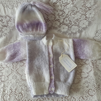 Purple and white baby cardigan and matching hat.