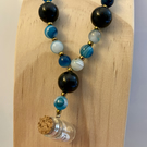 Semi-precious stone necklace with tiny bottle - teal, black, golden