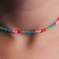 Pretty handmade pink, blue, purple and green glass seed bead choker necklace