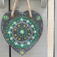 Slate hand painted hanging heart